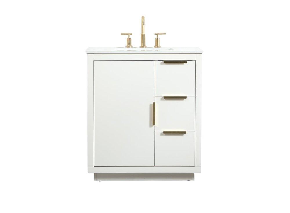 30 Inch Single Bathroom Vanity In White Vf19430wh Coastal Lighting